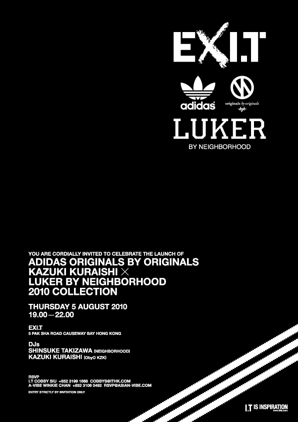 ADIDAS ORIGINALS BY ORIGINALS KAZUKI KURAISHI x LUKER BY NEIGHBORHOOD EVENT E-INVITE
